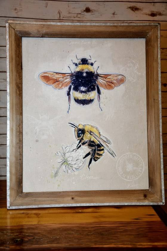 Canvas Wall Plaque with Bee