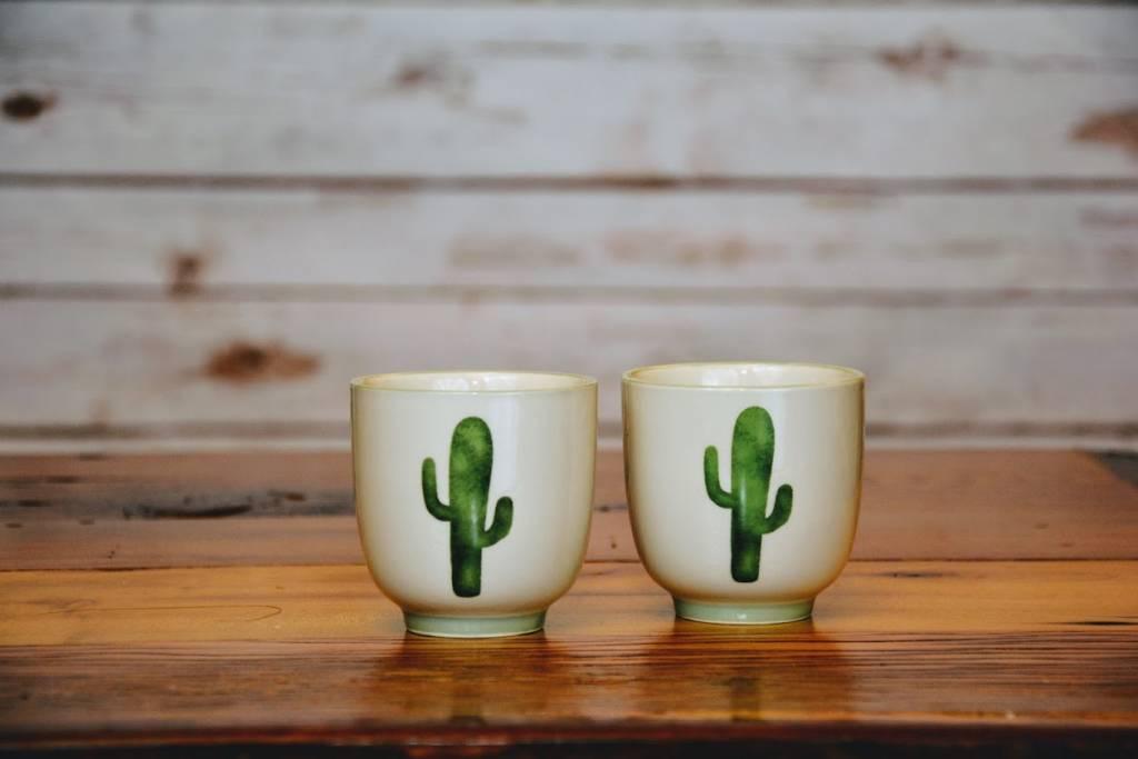 Ceramic Jade Teacup w/ Cactus
