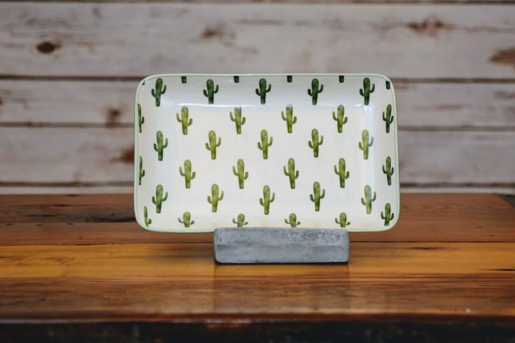 Ceramic Jade Plate w/ Cactus