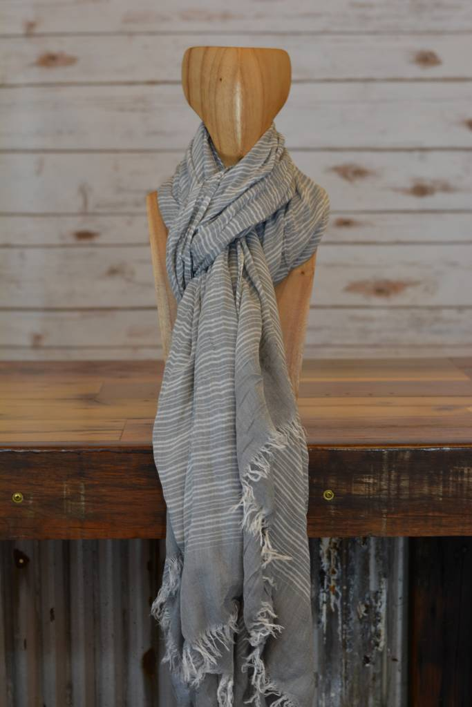 Grey & White Striped Shawl