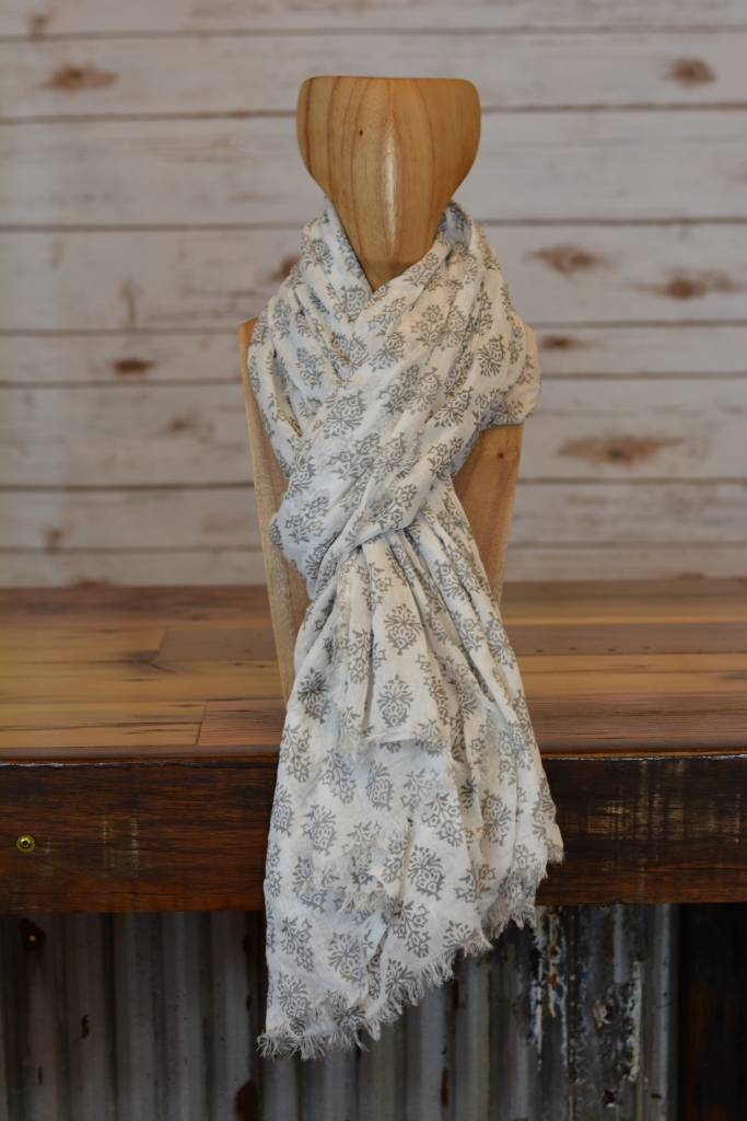 Grey & White Printed Scarf