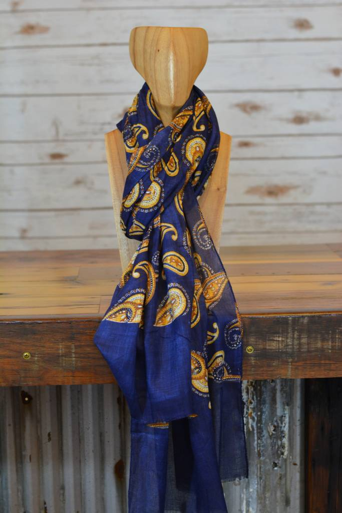 Navy Blue Paisley Scarf