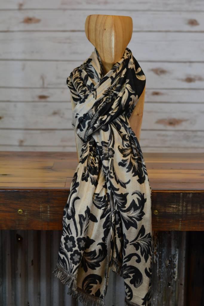 Elegant Floral Black & Tan Scarf