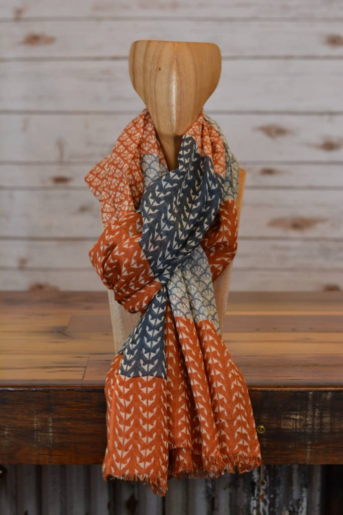 Navy & Orange Scallop Print Scarf
