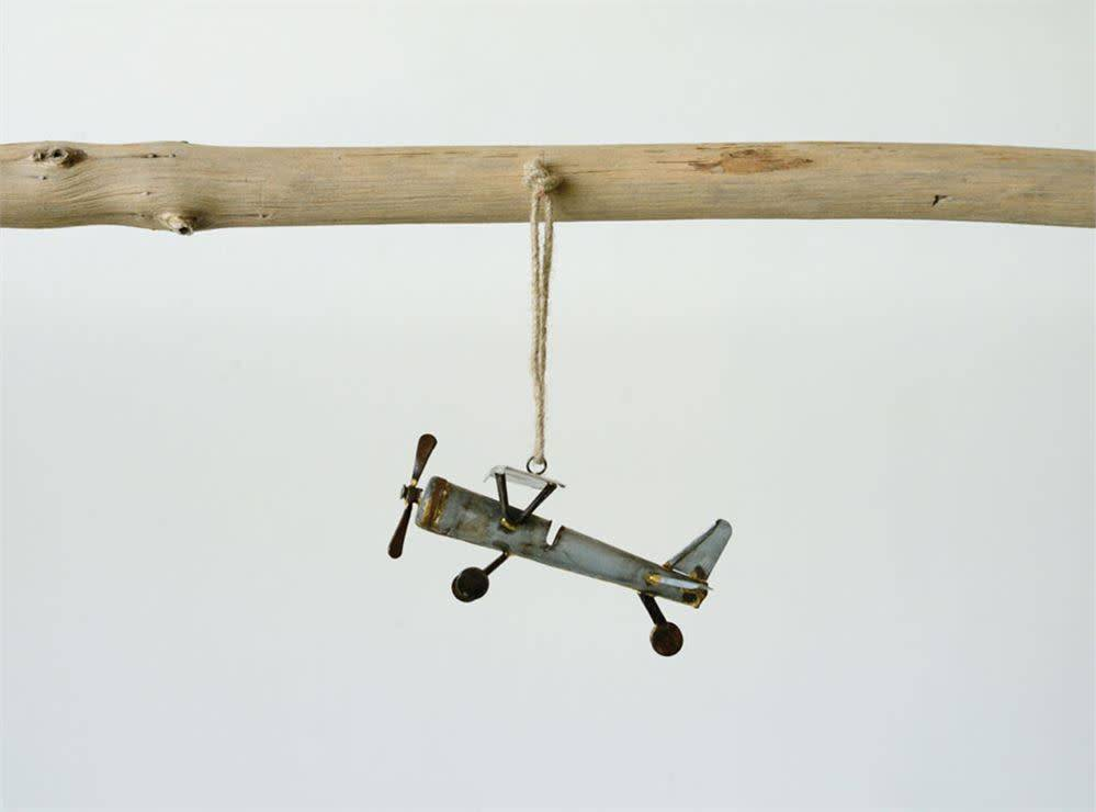 Galvanized Metal Plane Ornament