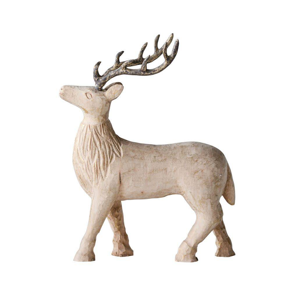 Mango Wood Standing Reindeer