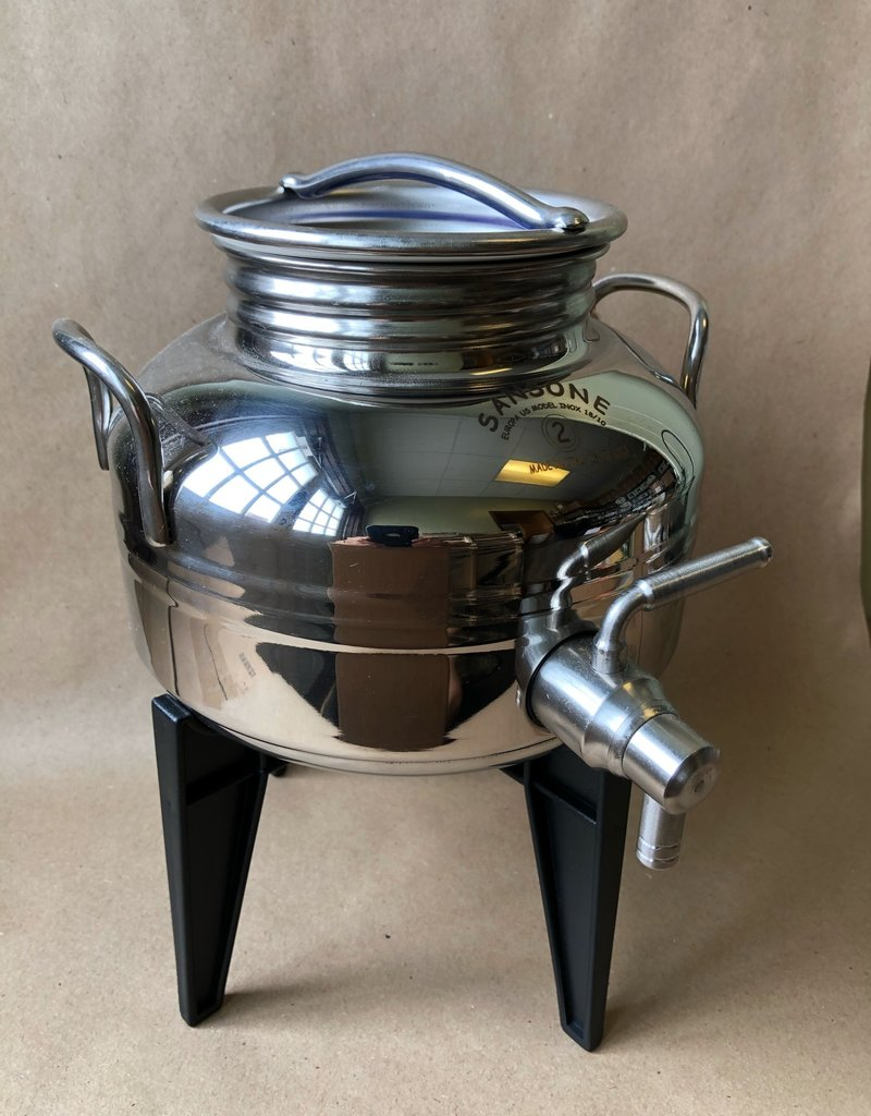 2 LITER ITALIAN STAINLESS STEEL FUSTI W/SPIGOT & STAND INCLUDED, NSF CERTIFIED