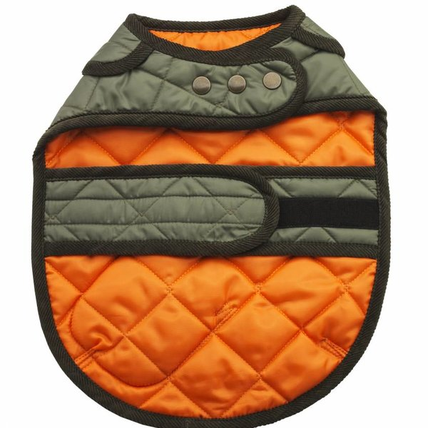 Lovemydog Love My Dog Olive/Orange Reversible waterproof Jacket