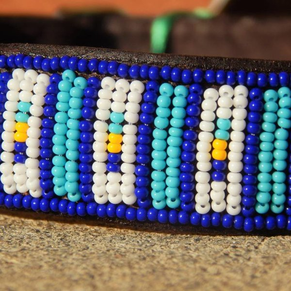 Beadle African beaded collar blue lines