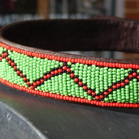 Beadle African beaded collar green zigzag