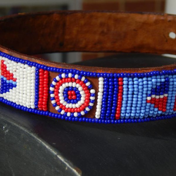 Beadle african beaded collar smallblue/white/red