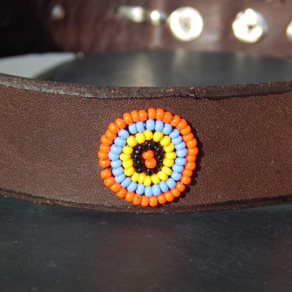 Beadle African beaded collar dark brown leather multi colored circles
