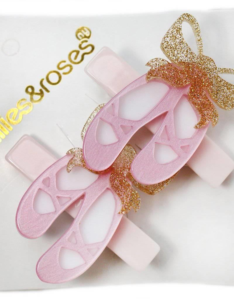 Lilies & Roses ballet slippers hairclips