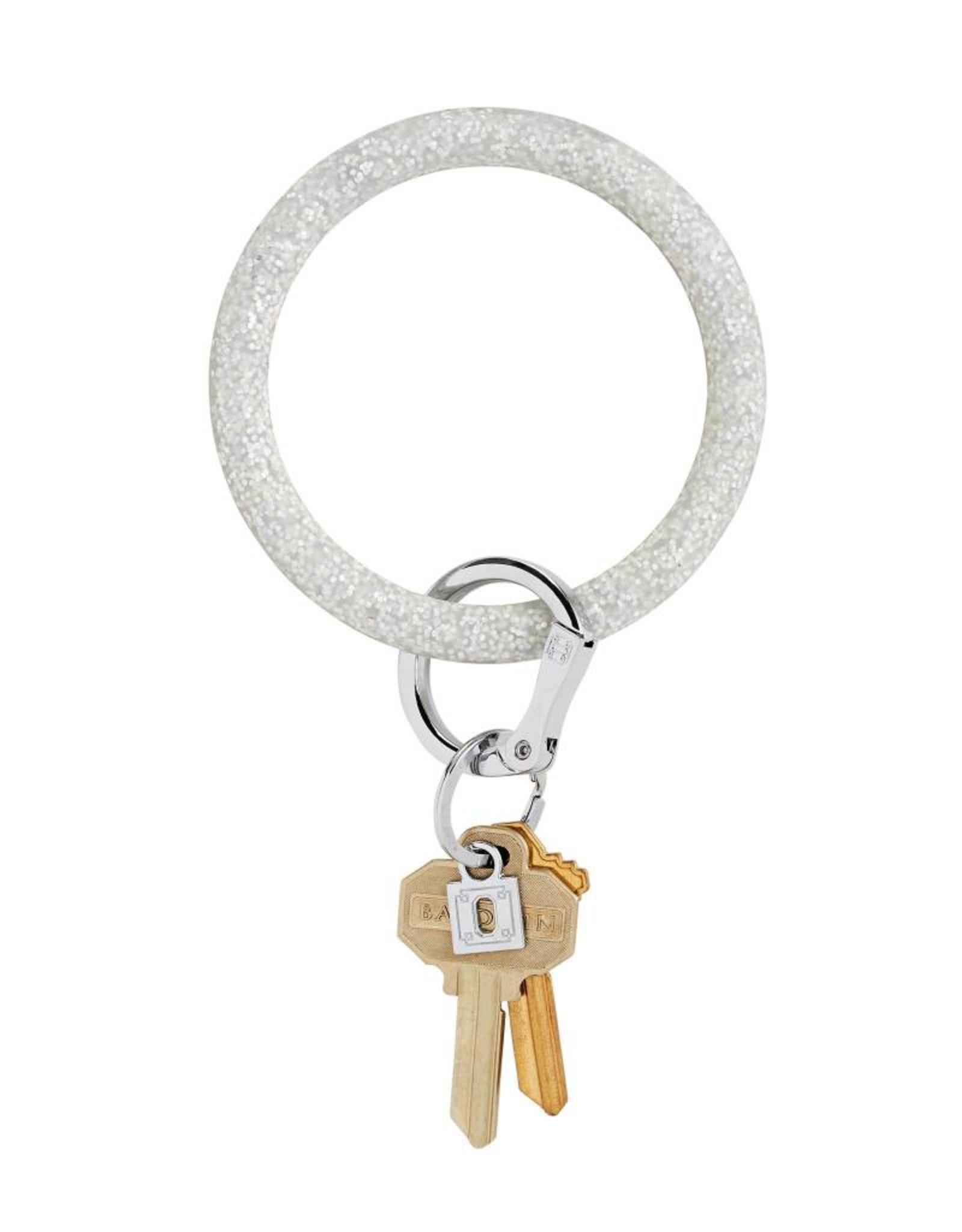 Big O Key Ring silver confetti silicone