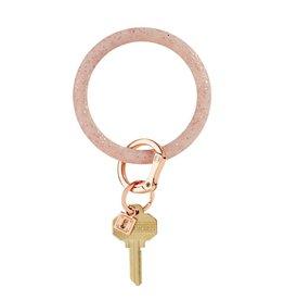 Big O Key Ring rose gold confetti silicone