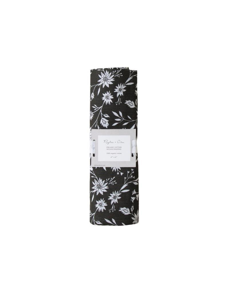 Rylee and Cru midnight floral organic swaddle