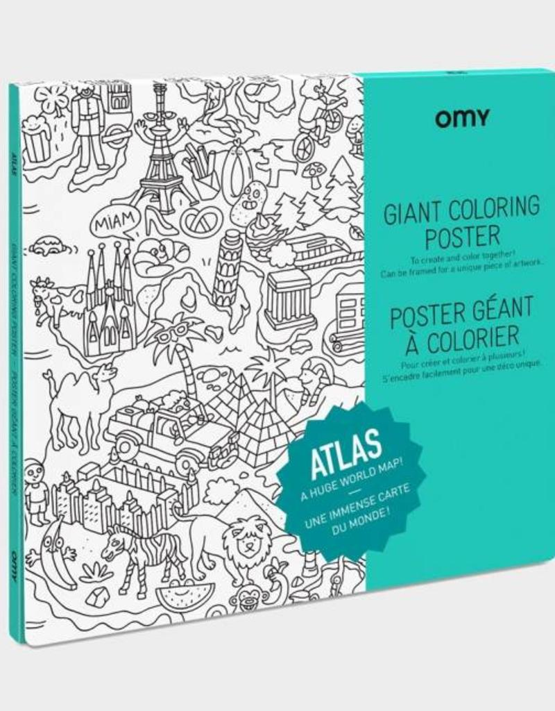 OMY giant coloring poster- atlas