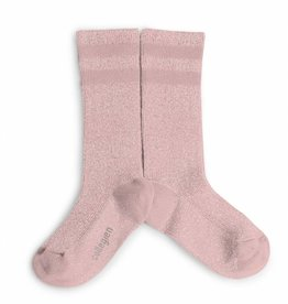 Collegien glitter varsity socks- rose quartz