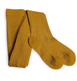 Collegien glitter ribbed tights- mustard