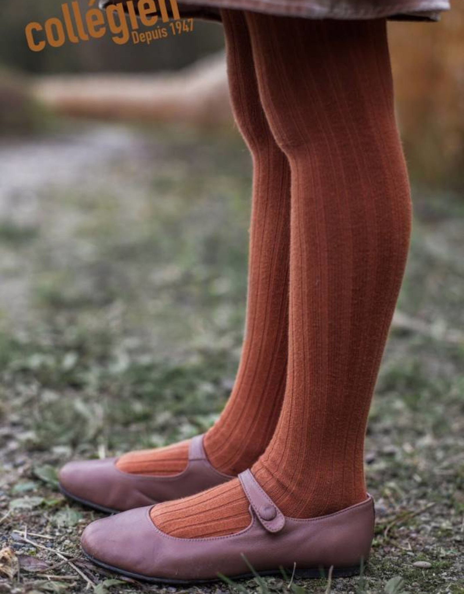Collegien ribbed tights- spice