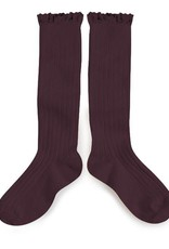 Collegien lace knee highs- aubergine