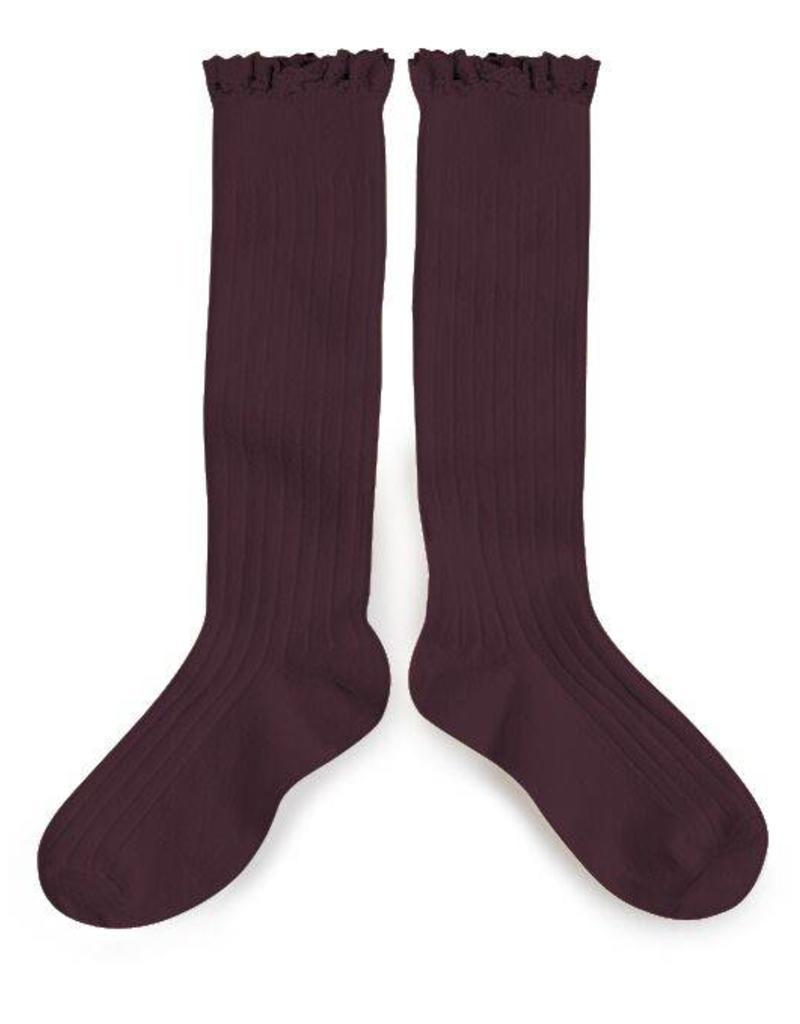 Collegien lace knee highs- aubergine