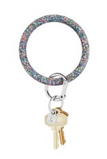 Big O Key Ring rainbow confetti silicone