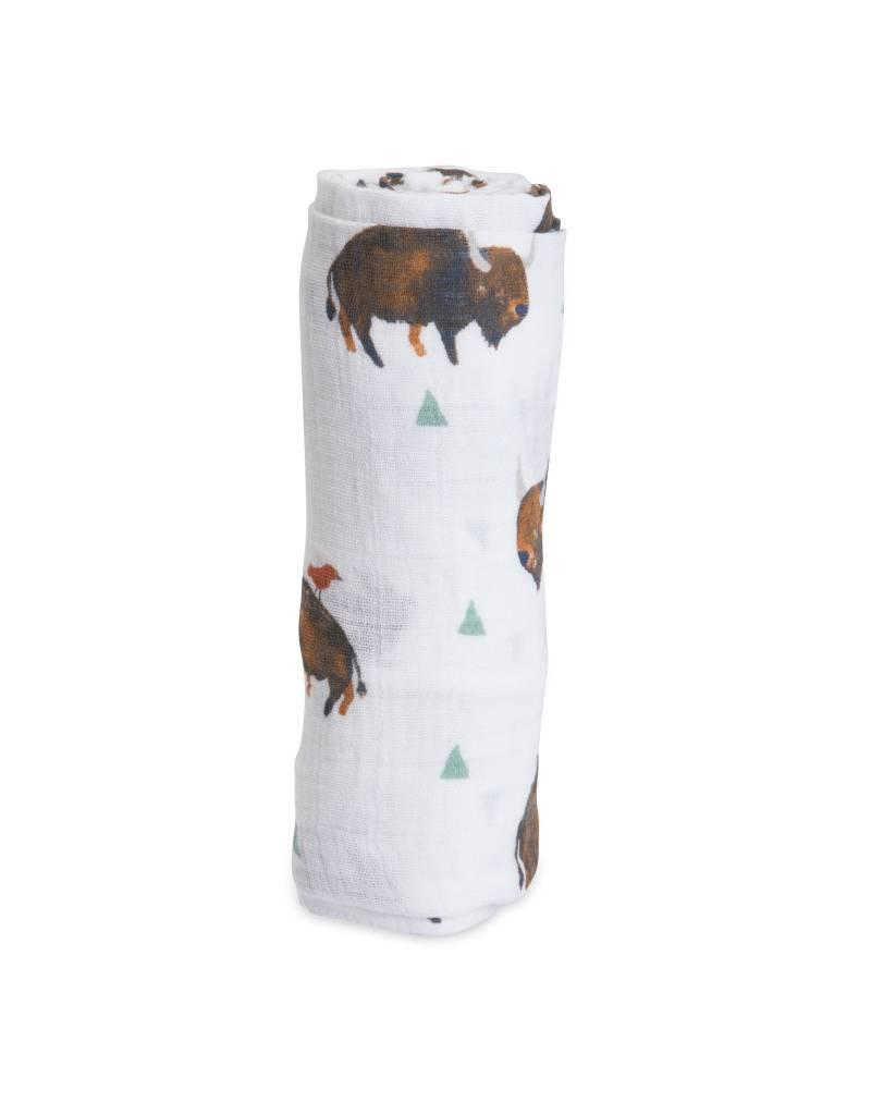 Little Unicorn cotton muslin swaddle- bison