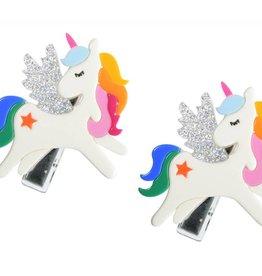 Lilies & Roses unicorn hairclips- rainbow