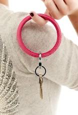 Big O Key Ring pink topaz crocodile