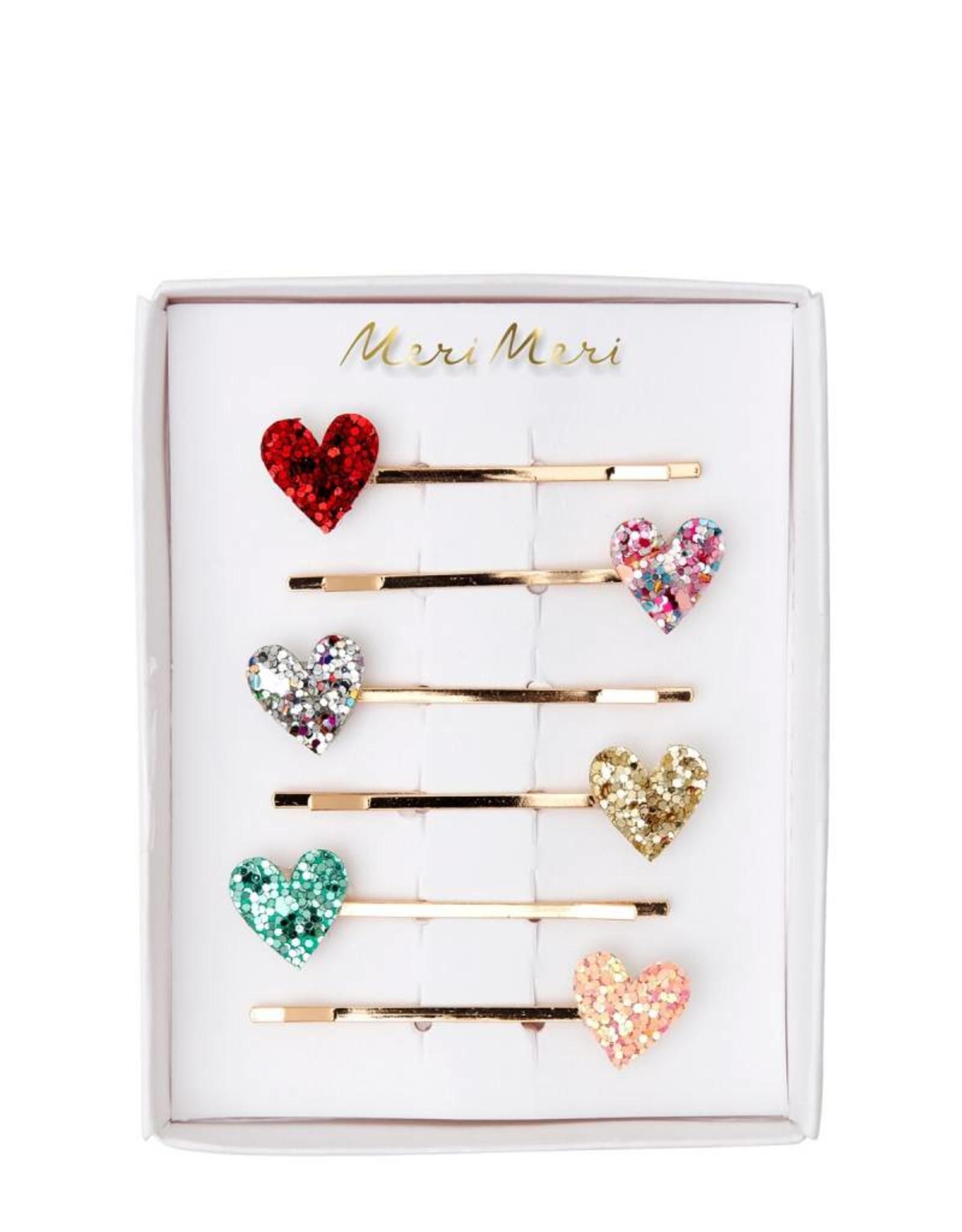 Meri Meri glitter hearts hairclips