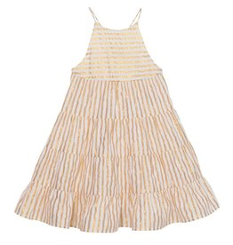 Velveteen lara dress- gold stripe