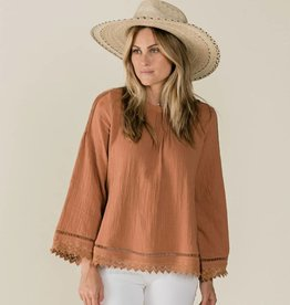 Rylee and Cru kalo blouse- passionfruit