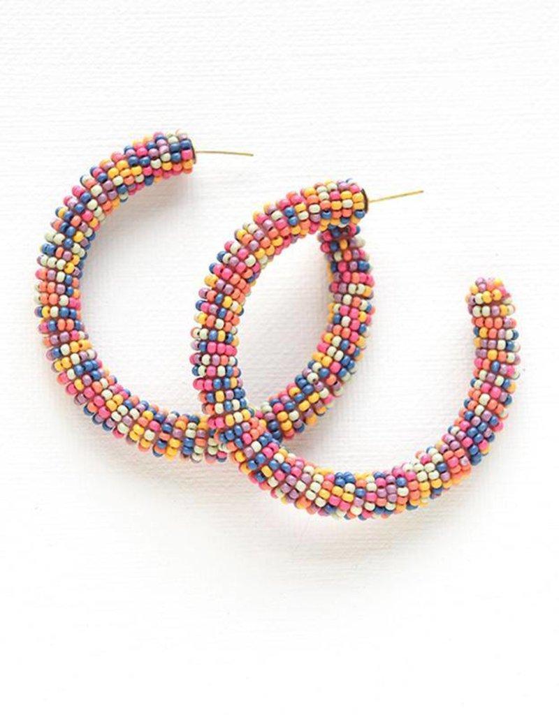 Ink + Alloy seed hoop earrings- confetti