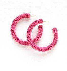 Ink + Alloy seed hoop earrings- hot pink