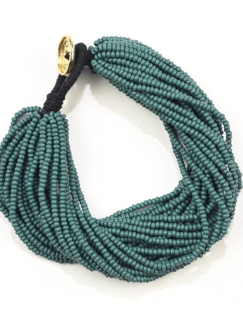 Ink + Alloy layer seed bracelet- teal