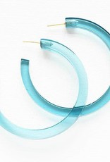 Ink + Alloy lucite hoop earrings- turquoise