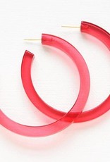 Ink + Alloy lucite hoop earrings- hot pink