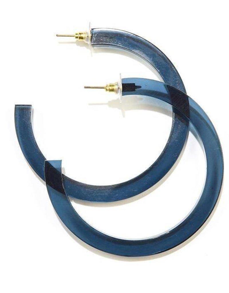 Ink + Alloy lucite hoop earrings- peacock