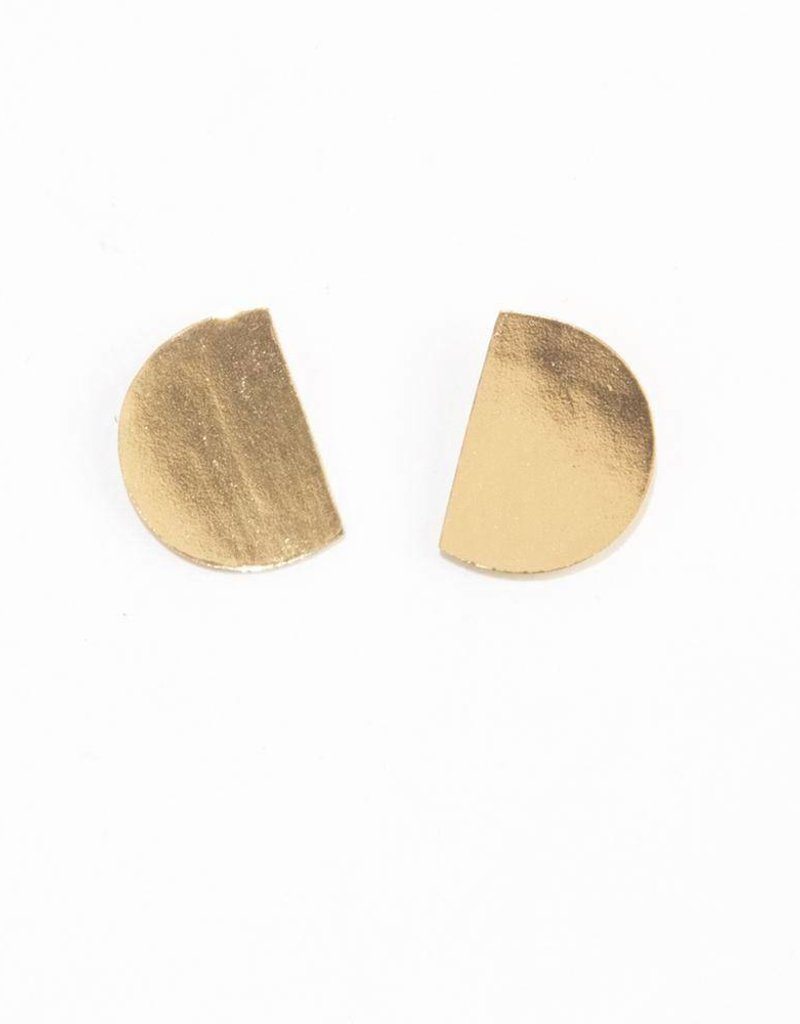 Ink + Alloy small cut circle earrings- brass