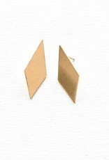 Ink + Alloy small diamond earrings- brass