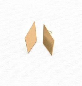 Ink + Alloy small diamond earrings- brass