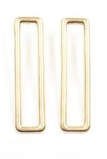 Ink + Alloy long rectangle earrings- brass