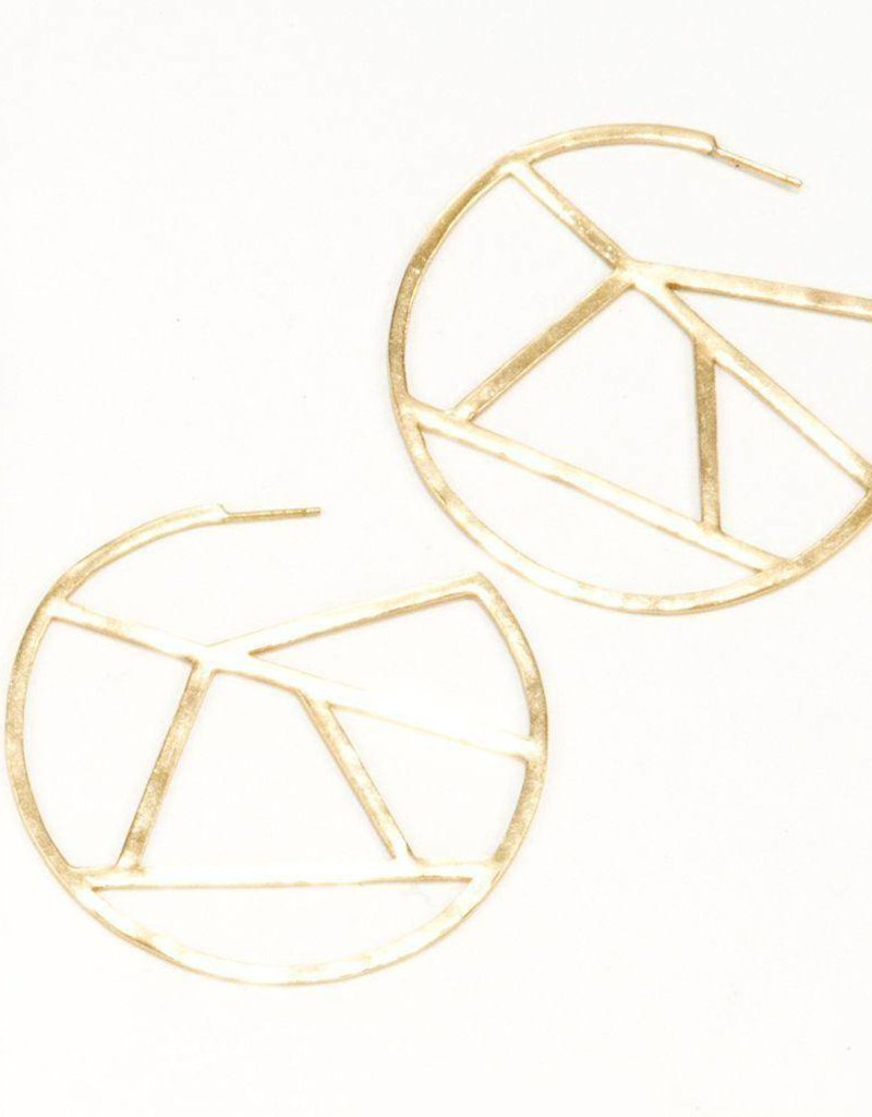 Ink + Alloy stained glass circle earrings- brass
