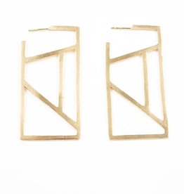 Ink + Alloy stained glass rectangle earrings- brass