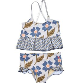 Pink Chicken joy tankini- blue flower