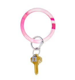 Big O Key Ring tickled pink marble silicone