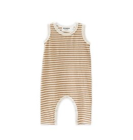 Go Gently Nation long romper- tan stripe