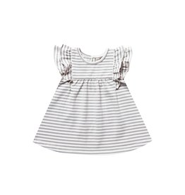 Quincy Mae striped flutter dress- grey stripe