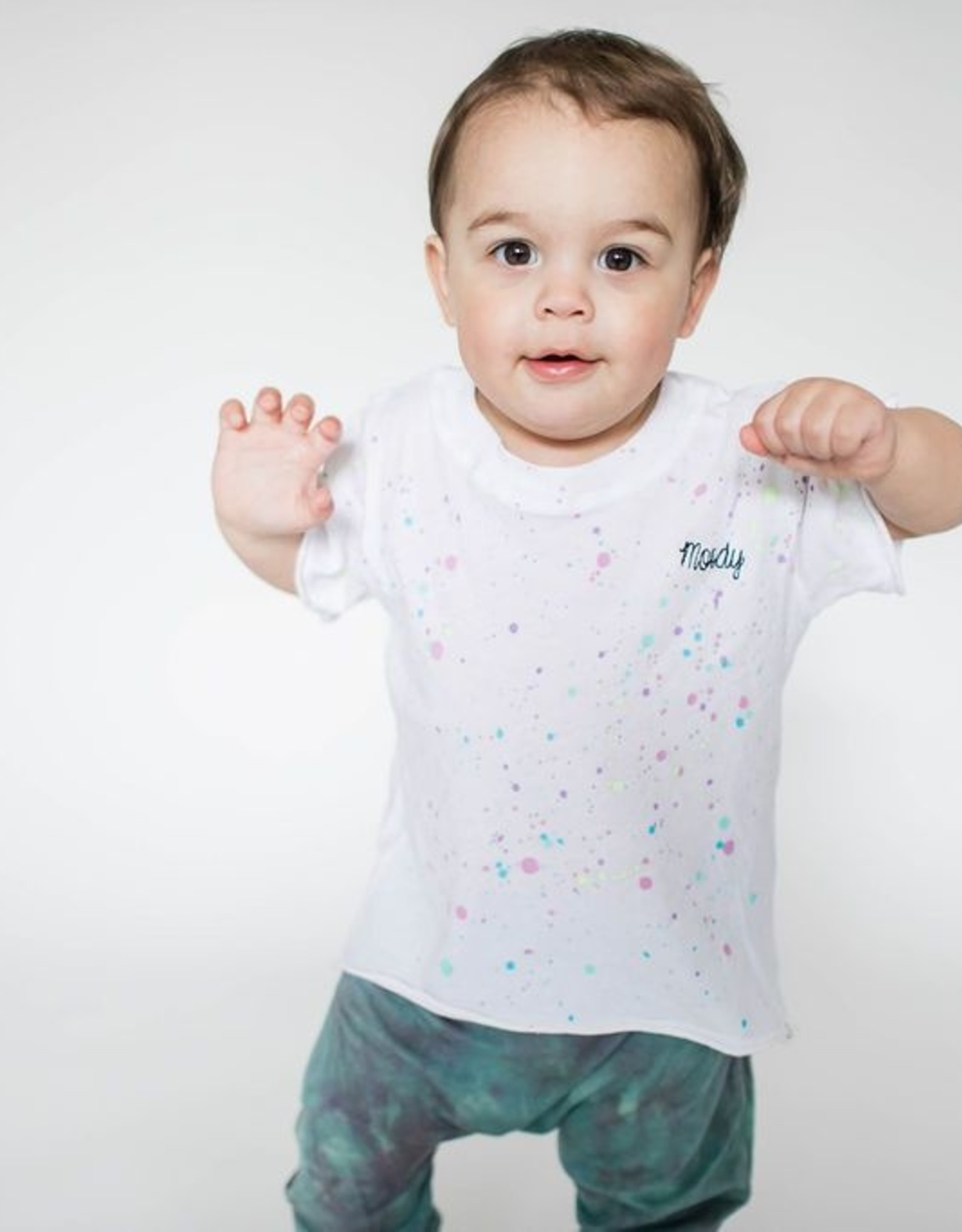 Little Moon Society moody tee- rainbow splatter